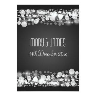 "Elegant Wedding Save The Date Dotted Black 5"" X 7"" Invitation Card"