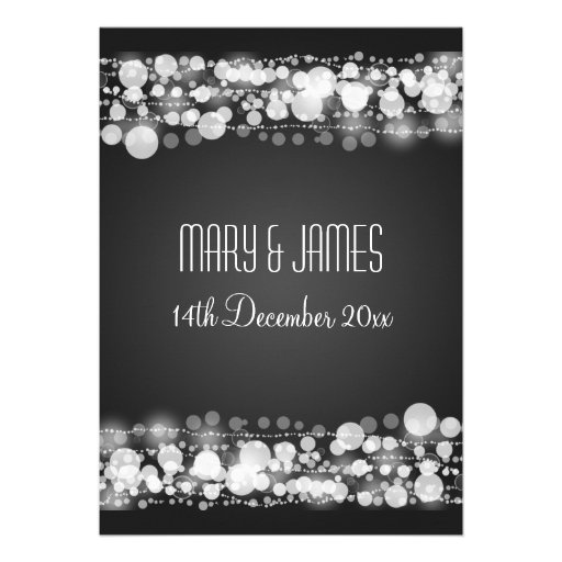 Elegant Wedding Save The Date Dotted Black Custom Invitation