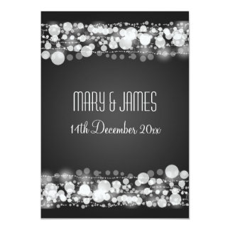 Elegant Wedding Save The Date Dotted Black 5x7 Paper Invitation Card