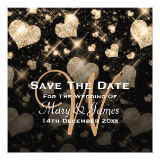 Elegant Wedding Save The Date Glitter Hearts Gold Announcements