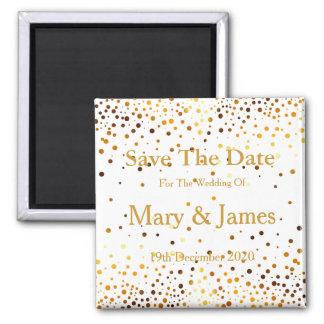 Elegant Wedding Save The Date Gold Glitter Sparkle Square Magnet