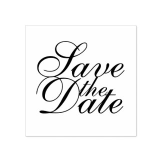 Elegant Wedding Save the Date Rubber Stamp