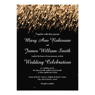 Elegant Wedding Save The Date Stars Gold Custom Invite