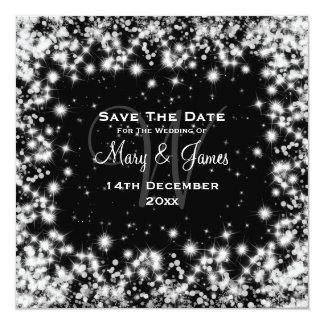 "Elegant Wedding Save The Date Winter Sparkle Black 5.25"" Square Invitation Card"