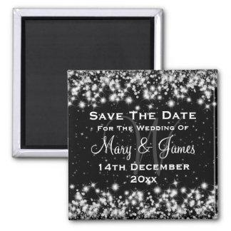 Elegant Wedding Save The Date Winter Sparkle Black Magnet