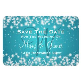 Elegant Wedding Save The Date Winter Sparkle Blue Magnet