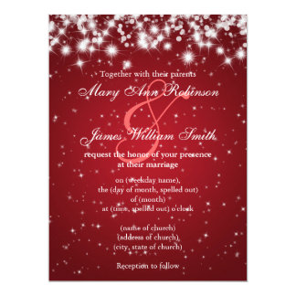 "Elegant Wedding Save The Date Winter Sparkle Red 6.5"" X 8.75"" Invitation Card"
