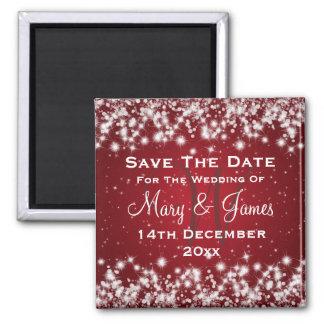 Elegant Wedding Save The Date Winter Sparkle Red Magnet