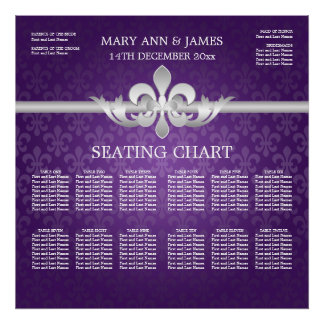 Elegant Wedding Seating Chart Fleur De Lis Purple