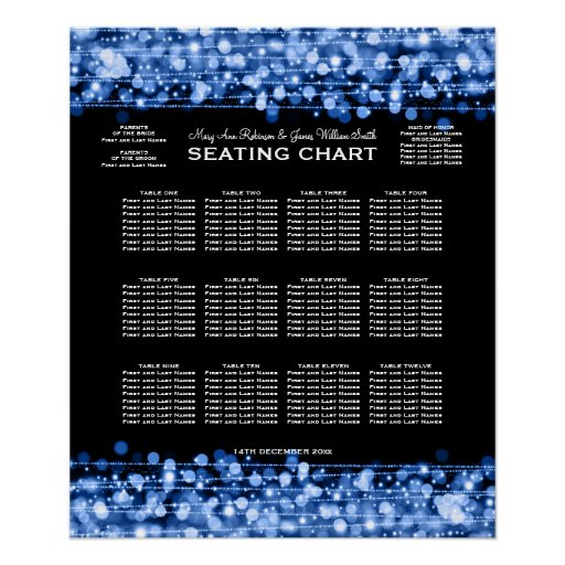 Elegant Wedding Seating Chart Party Sparkles Blue Print