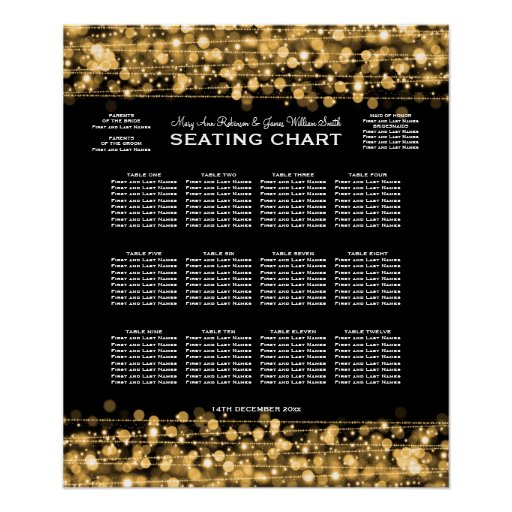 Elegant Wedding Seating Chart Party Sparkles Gold Print