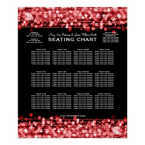 Elegant Wedding Seating Chart Party Sparkles Red Poster