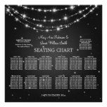 Elegant Wedding Seating Chart Sparkling Chain Blac Posters