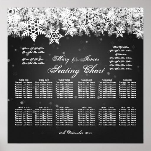 Elegant Wedding Seating Chart Winter Snow Black Posters