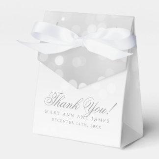 Elegant Wedding Silver Bokeh Sparkle Lights Favor Box