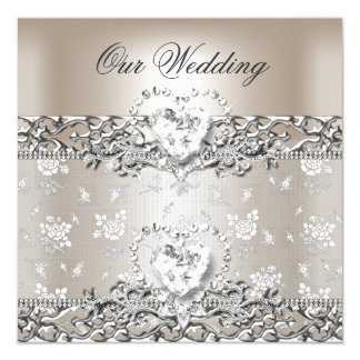 Elegant Wedding Silver Cream Diamond Heart Card