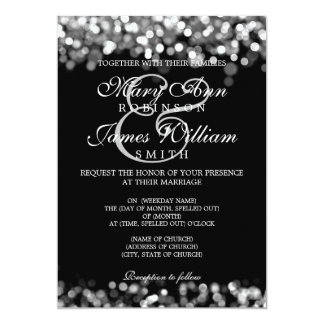 "Elegant Wedding Silver Lights 5"" X 7"" Invitation Card"