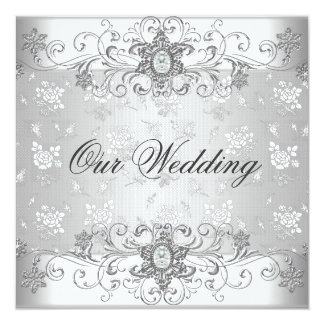 Elegant Wedding Silver White Diamond Jewel Lace Card