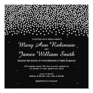 "Elegant Wedding Simple Sparkle Black 5.25"" Square Invitation Card"