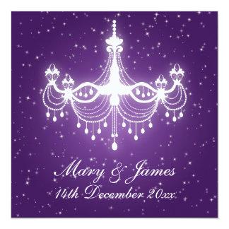 "Elegant Wedding Sparkling Chandelier Purple 5.25"" Square Invitation Card"
