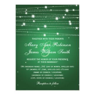 "Elegant Wedding Sparkling Lines Emerald Green 6.5"" X 8.75"" Invitation Card"