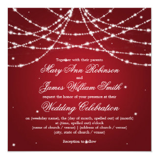 "Elegant Wedding Sparkling String Red 5.25"" Square Invitation Card"