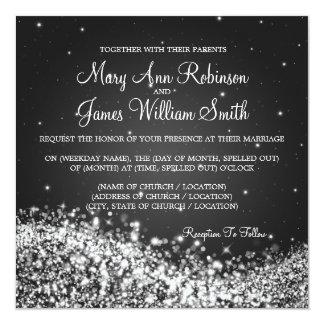 "Elegant Wedding Sparkling Wave 2 Black 5.25"" Square Invitation Card"