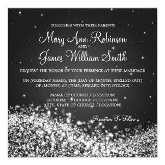 Elegant Wedding Sparkling Wave 2 Black Custom Invites