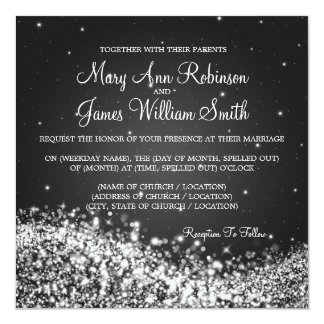 Elegant Wedding Sparkling Wave 2 Black Custom Invites