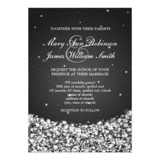 Elegant Wedding Star Sparkle Black Invite