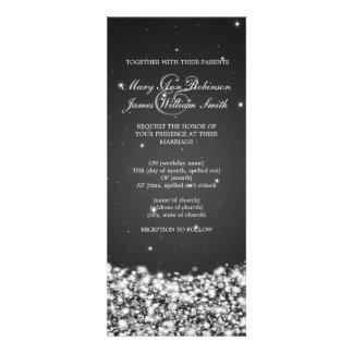 Elegant Wedding Star Sparkle Black Announcements