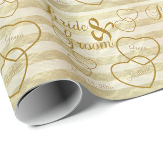 Elegant Wedding Stripes  and Gold Design Wrapping Paper