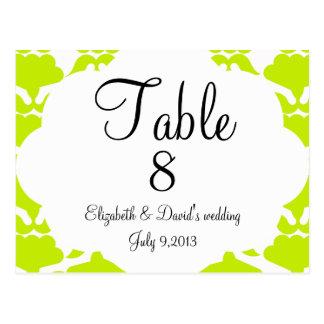 Elegant wedding table number post card