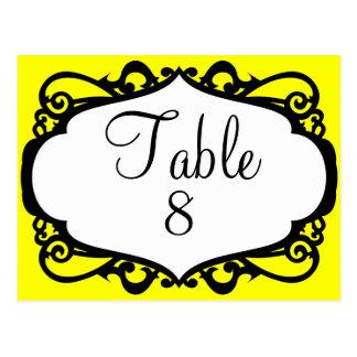 Elegant wedding table number postcards
