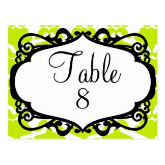 Elegant wedding table number post cards