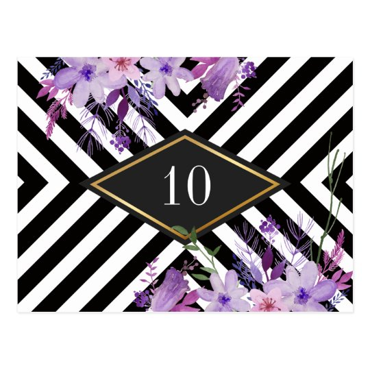 Elegant wedding table number postcard
