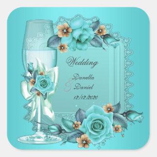 Elegant Wedding Teal Blue Beige Roses Flowers Square Sticker