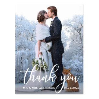 Elegant Wedding Thank You Bride Groom Photo Postcard