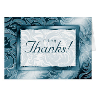 Elegant Wedding Thank You Cards Leaf Floral Teal