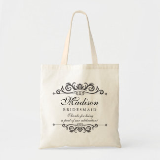 Elegant Wedding Thank You Personalized Bridesmaid Tote Bag