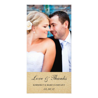 Elegant Wedding Thank You Photo Card / Champagne