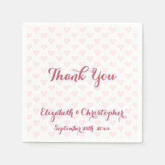 Elegant Wedding Thank You Pink Hearts Paper Napkin
