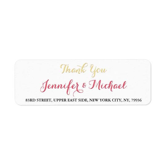 Elegant Wedding Thank You Return Address Label