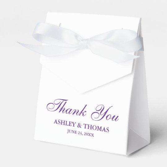 Elegant Wedding Thank You White and Purple Bowed Wedding Favor Boxes