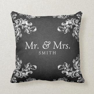 Elegant Wedding Vintage Swirls 2 Black Throw Pillow