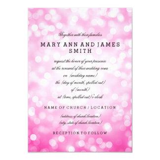 "Elegant Wedding Vow Renewal Pink Glitter Lights 4.5"" X 6.25"" Invitation Card"