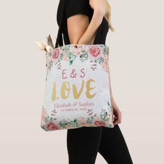 Elegant Wedding Watercolor Chic Floral Gold Script Tote Bag