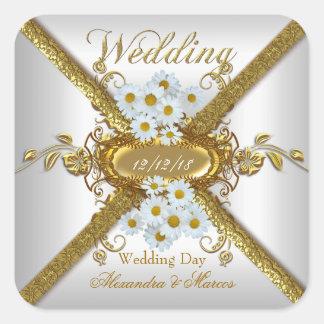 Elegant Wedding White Daisy Flowers Gold Square Sticker