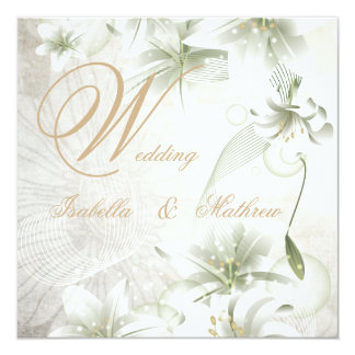 Elegant Wedding White Flowers Beige Gold Floral Card