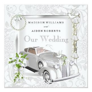 "Elegant Wedding White Gold Vintage Car Damask 2 5.25"" Square Invitation Card"